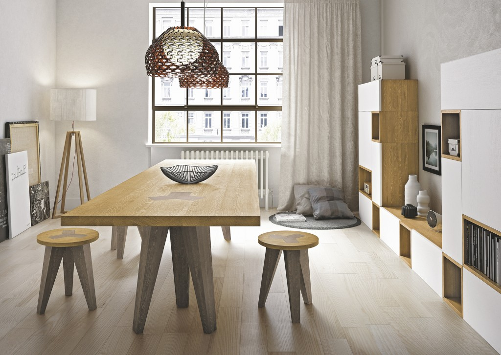 Masa Moderna Nettuno fixa realizata din lemn masiv stejar