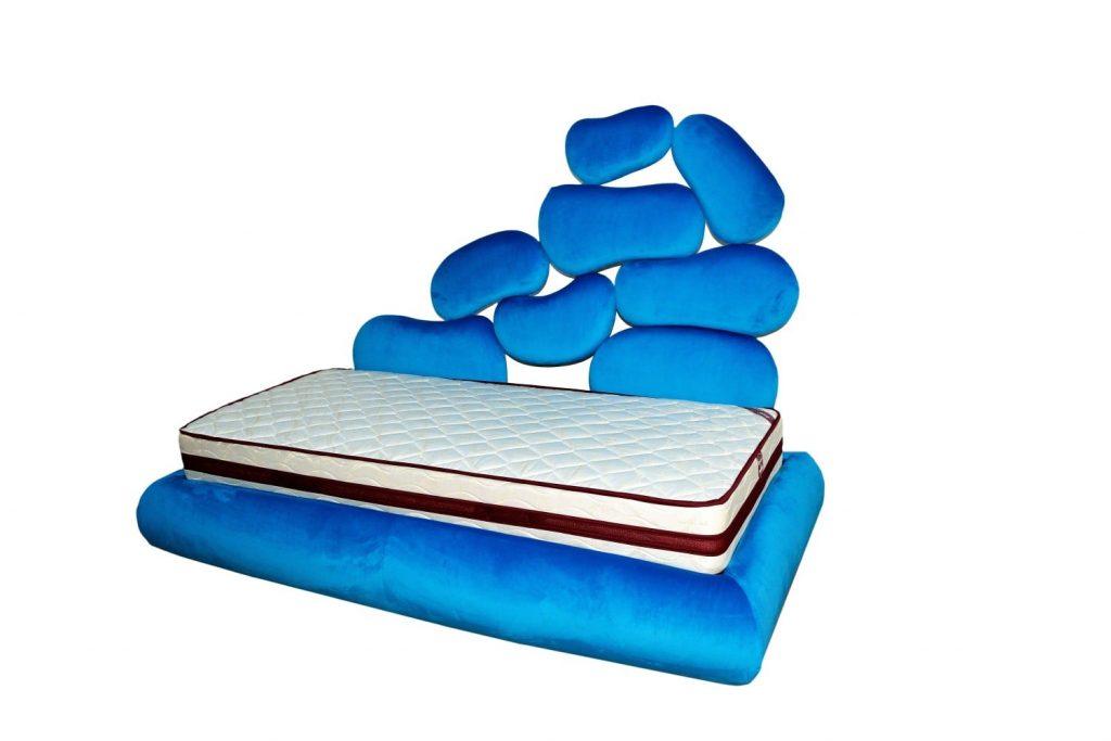 Tablie de pat tapitat ITALIA 2 copii pe lateral cu un design futurist si conceput de Iak.ro-min