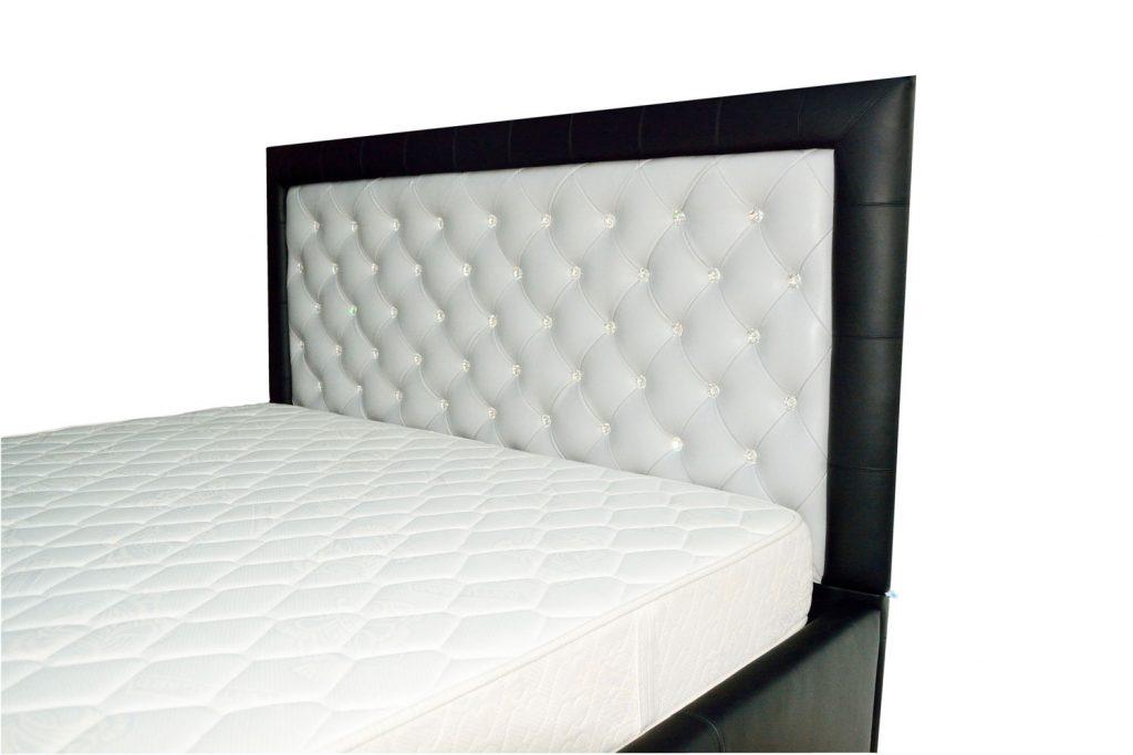 Tablie de pat tapitat in piele naturala bovina neagra cu alb 160 model Faraon Tutankhamon incrustat cu butoni cristale swarovski-min