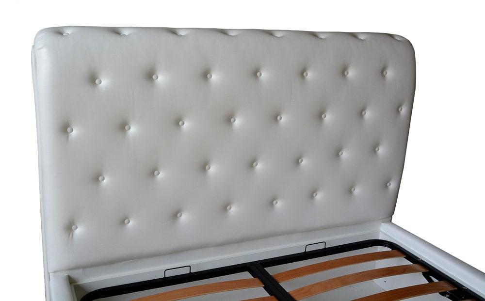 Tablie pat 160 fixa imbracata in piele ecologica alba accesorizata cu butoni imbracata cu burete curbat vedere laterala-min