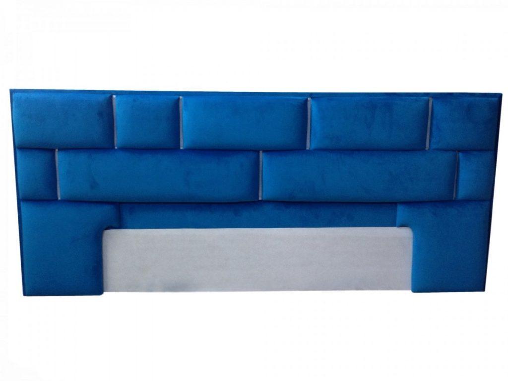 Tablie pat Tenerife tapitat in stofa moale French Velvet albastru indigo cu bandaled multicolora-min