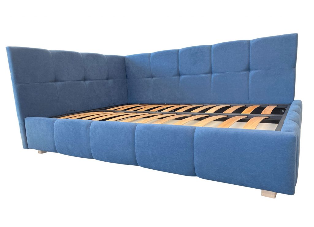 Model de pat tapitat Mentone 120 latime cu sistem somiera de ridicare cu doua pistoane