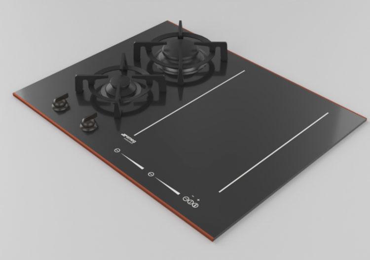 Plita inductie Smeg PM6621WLDR vitroceramica neagra vedere 3D