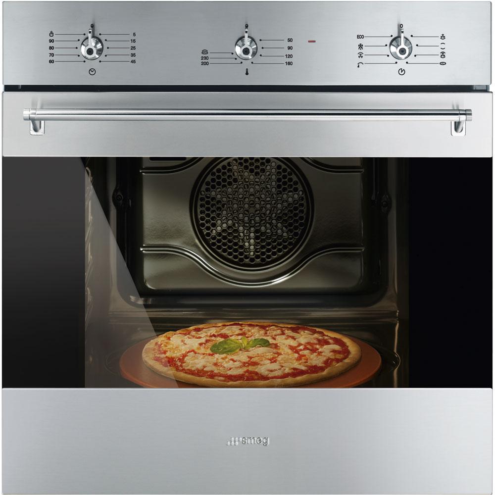 Detaliu cuptor electric Smeg SF6381X otel inoxidabil, multifunctional, pizza