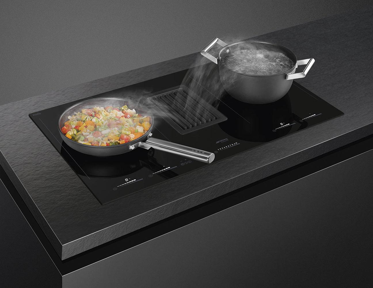 Plita inductie cu hota SMEG HOBD682D1 integrata sticla ceramica neagra 80 cm detalii aspiratie